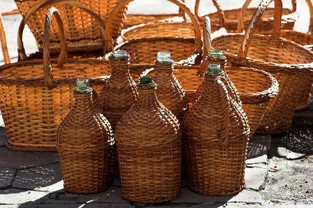 wine stocks: Pile of brand new demijohns