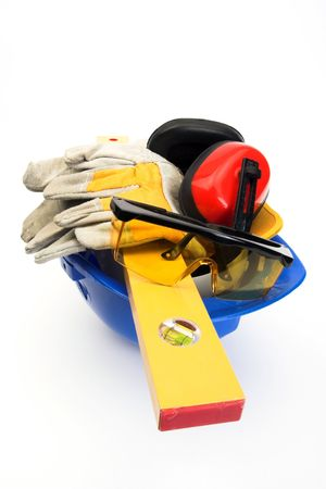 Safety gear kit and tools close up   photo