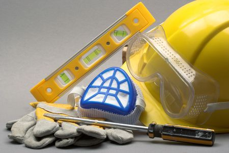 safety goggles: Safety gear kit close up