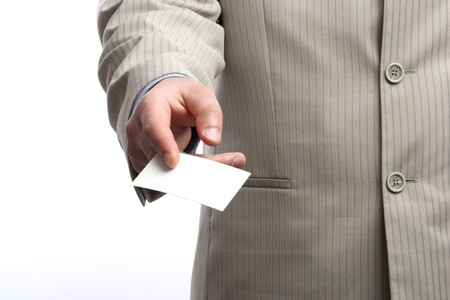 Businessman holding blank business card Stock Photo - 6972809