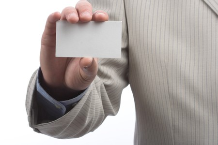 Businessman holding blank business card  Stock Photo - 6972813