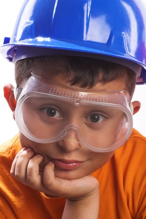 personal safety: Portrait of boy with helmet and goggles Stock Photo