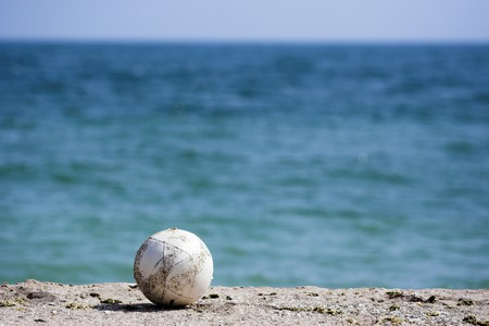 soccer ball on a beach Stock Photo - 7746421