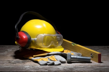 health industry: Safety gear kit close up