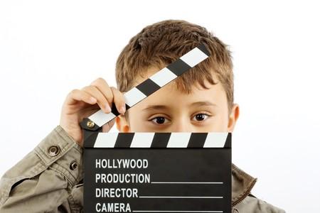 battant: Gar�on avec film battant Conseil sur blanc
