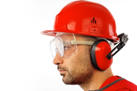 safety goggles: worker with red helmet over white