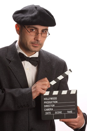 Old fashioned man holding movie clapboard Imagens - 8586437