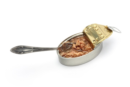 can of tuna fish and fork photo