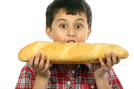 boy eating a big hamburger close up  Stock Photo - 8888492