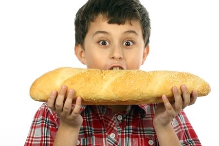 boy eating a big hamburger close up Stock Photo - 8888492