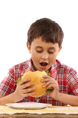 boy eating a big hamburger close up Stock Photo - 8951117