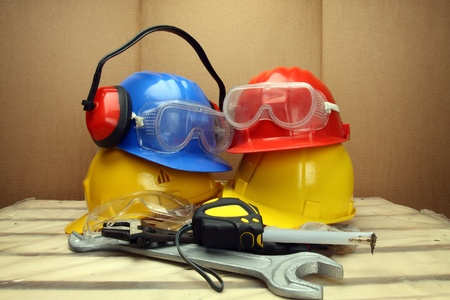 Some workers helmets close up. Safety concept photo