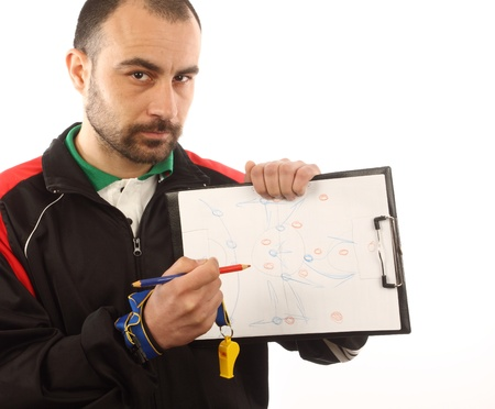 soccer manager drawing a tactical plan Imagens - 9427286