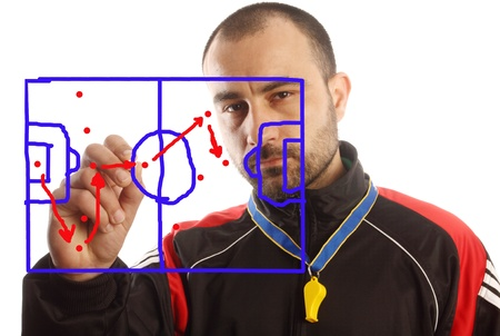 soccer manager drawing a tactical plan photo