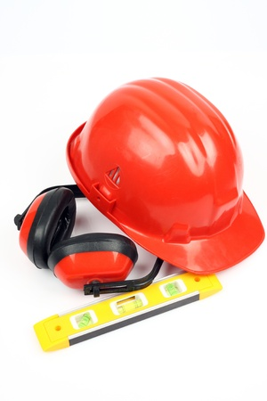 Safety gear kit close up over white Stock Photo - 9578171