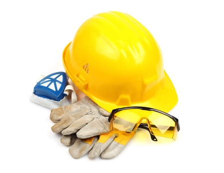 personal protective equipment: Safety gear kit close up over white Stock Photo