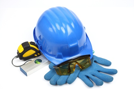 Safety gear kit close up over white Stock Photo - 9583766