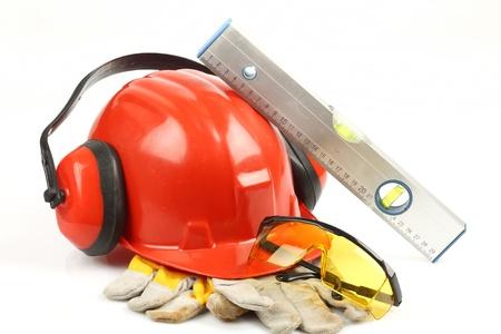 accidente de trabajo: Kit de seguridad engranaje de cerca Foto de archivo