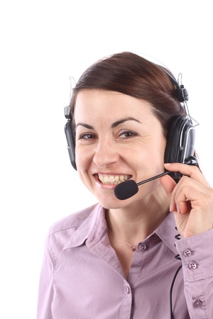 Smiling call center operator over white  photo