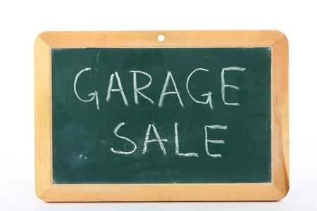 garage sale text written on blackboard Stock Photo - 9861763