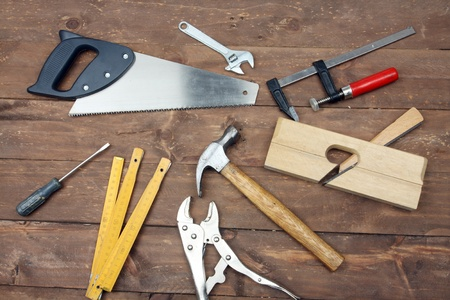 carpenters tools on a workbench  photo