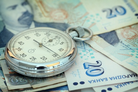 Chronometer and Bulgarian currency close up, shallow dof photo