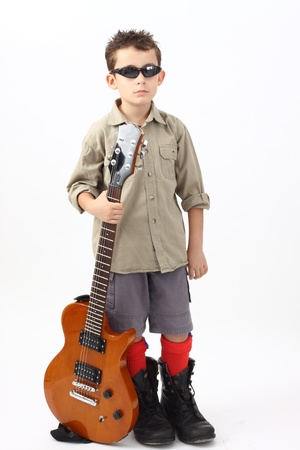 boy with a guitar on a white background  Stock Photo - 10675300