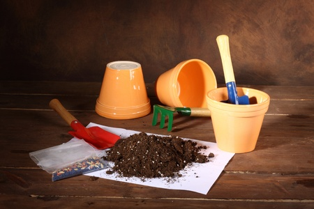 Set of gardening tools and pots Stock Photo - 10837328