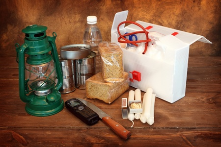 emergency kit: Items for emergency over gray background