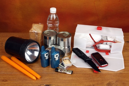 Items for emergency over gray background photo