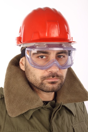 worker with red helmet over white  photo