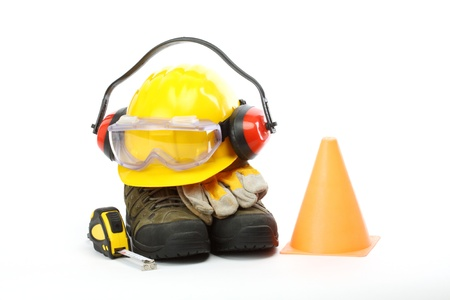 Safety gear kit close up over white  Stock Photo