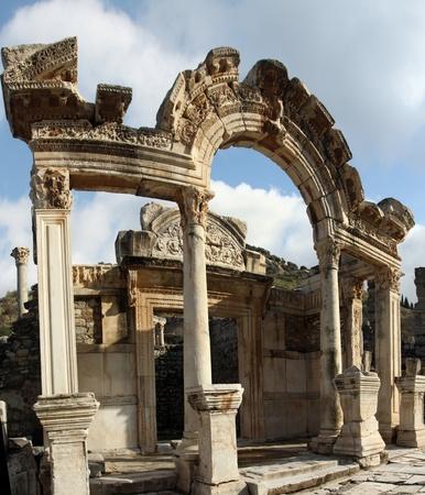 hadrian: The Temple of Hadrian, ruins of Ephesus, Turkey  Stock Photo