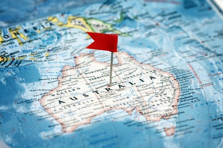 Flag pin on the map pointing  Australia