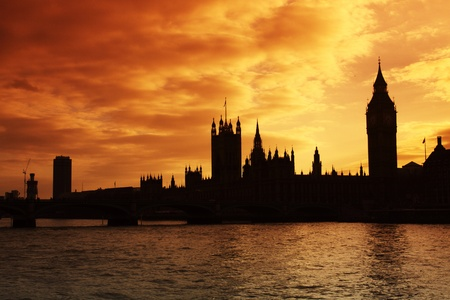 The silhouette of Westminster and the Houses of Parliament at sunset