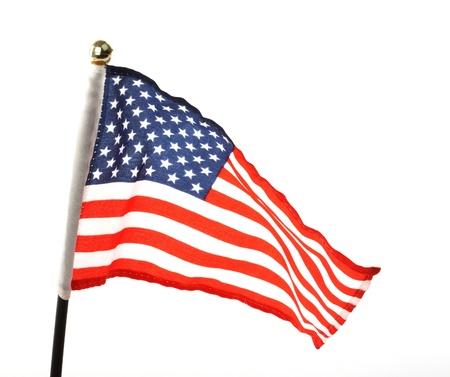Bandiera USA su sfondo bianco Archivio Fotografico