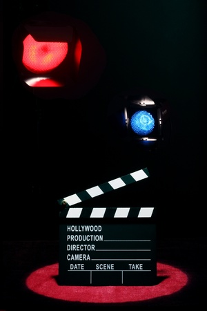 Movie concept. Movie clapper board in action photo