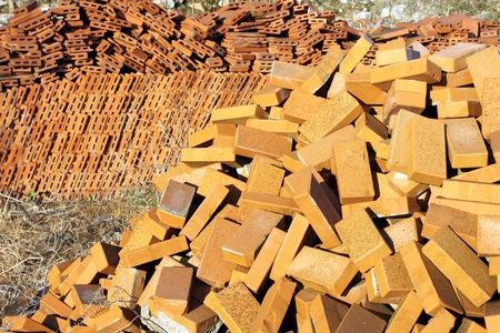 Construction materials - Pile of bricks Stock Photo - 14100499