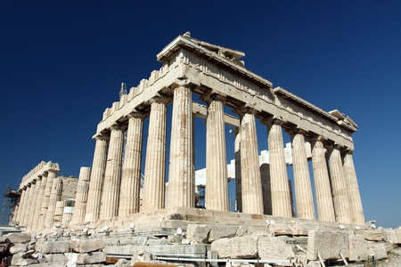 ruins is ancient: Parthenon in Acropolis, Athens, Greece  Stock Photo