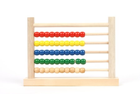 Close up of wooden abacus over white Imagens