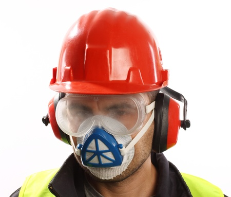 personal protective equipment: worker with red helmet and mask over white  Stock Photo
