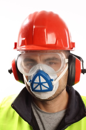 protective wear: worker with red helmet and mask over white  Stock Photo