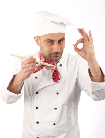 shef: Portrait of a cook on  white background