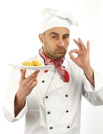 Ritratto di un cuoco su sfondo bianco