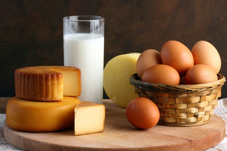 dairy products: Several types of cheese, milk and eggs Stock Photo