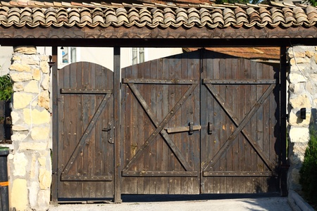 old-fashioned large wooden gate