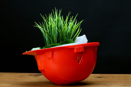 Green grass and red helmet- environmental friendly industry concept