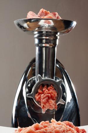 forcemeat:  Meat grinder close up, preparation of forcemeat