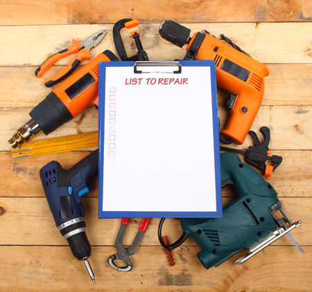 power hand tools and clipboard