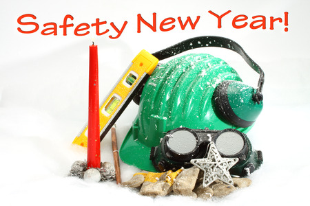 Safety New Year- protective equipment on artificial snow
